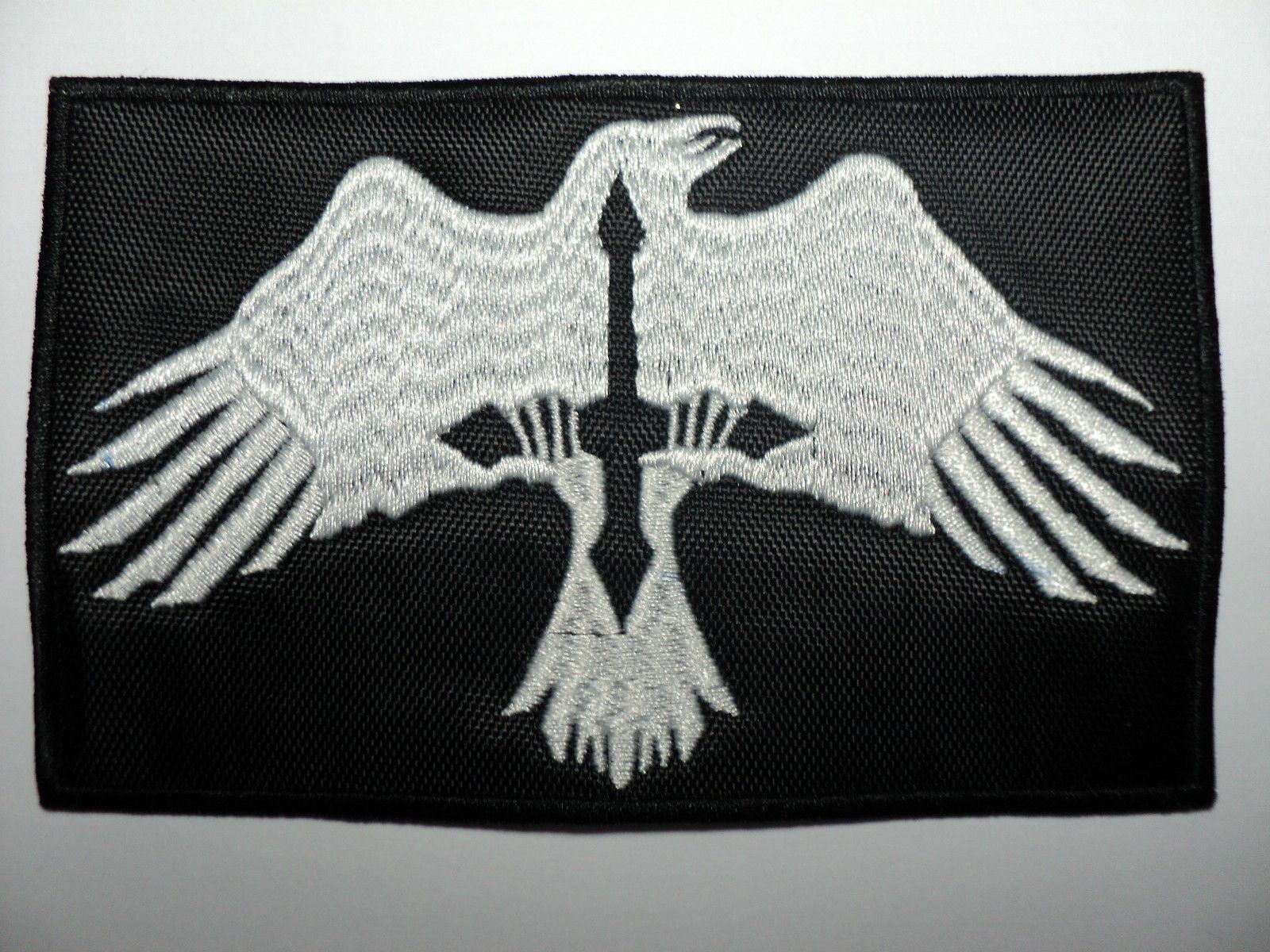 ODIN RAVEN PATCH iron-on VIKING EMBLEM embroidered NORSE MYTHOLOGY NORWAY BLACK