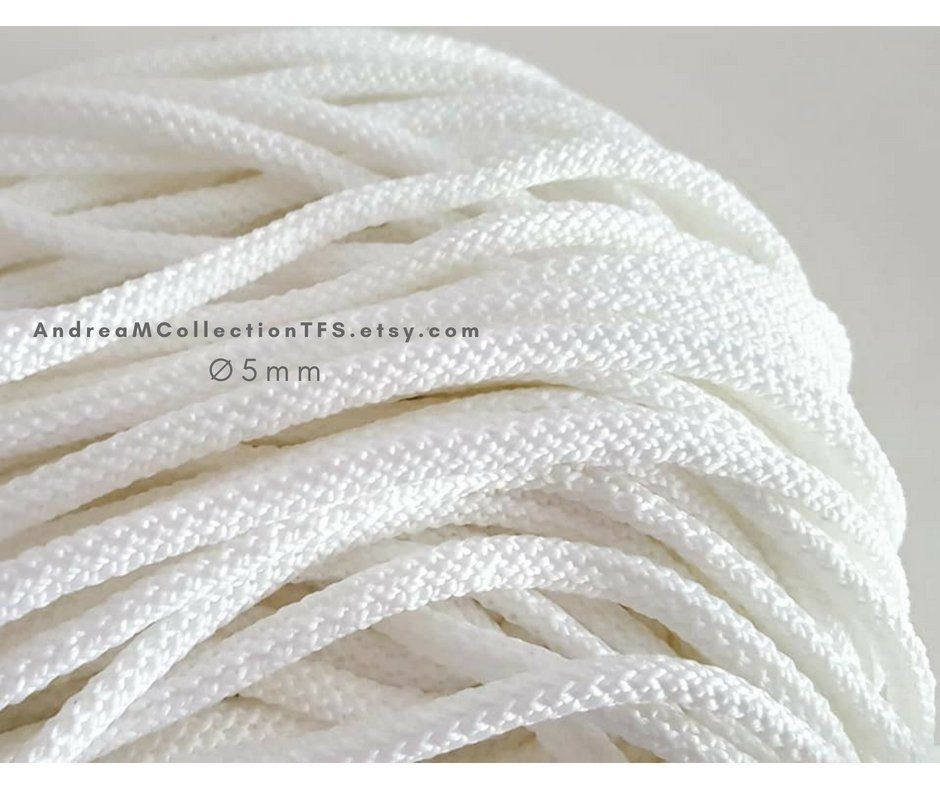 White polyester cord 5mm, Polyester rope, Natural soft rope