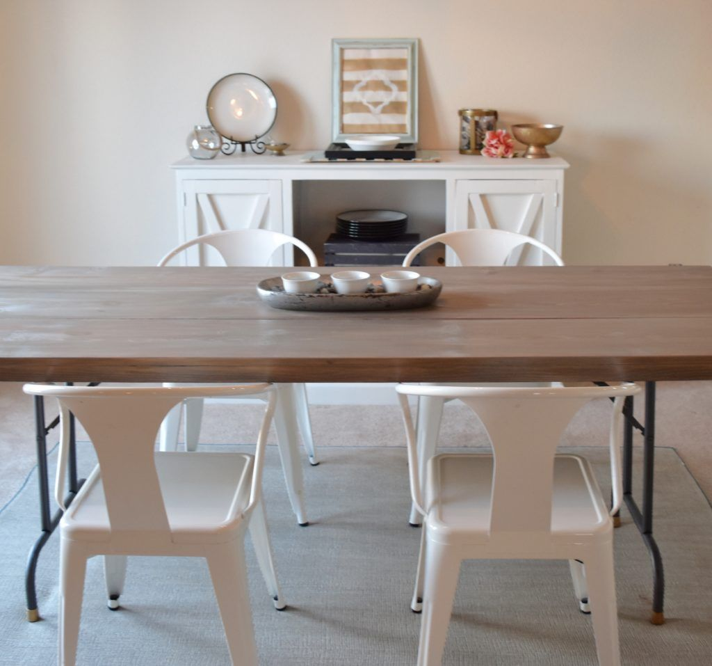Upcycled Folding Table Into A Dining Table  Folding Tables Easy Inspiration Building Dining Room Table Decorating Inspiration