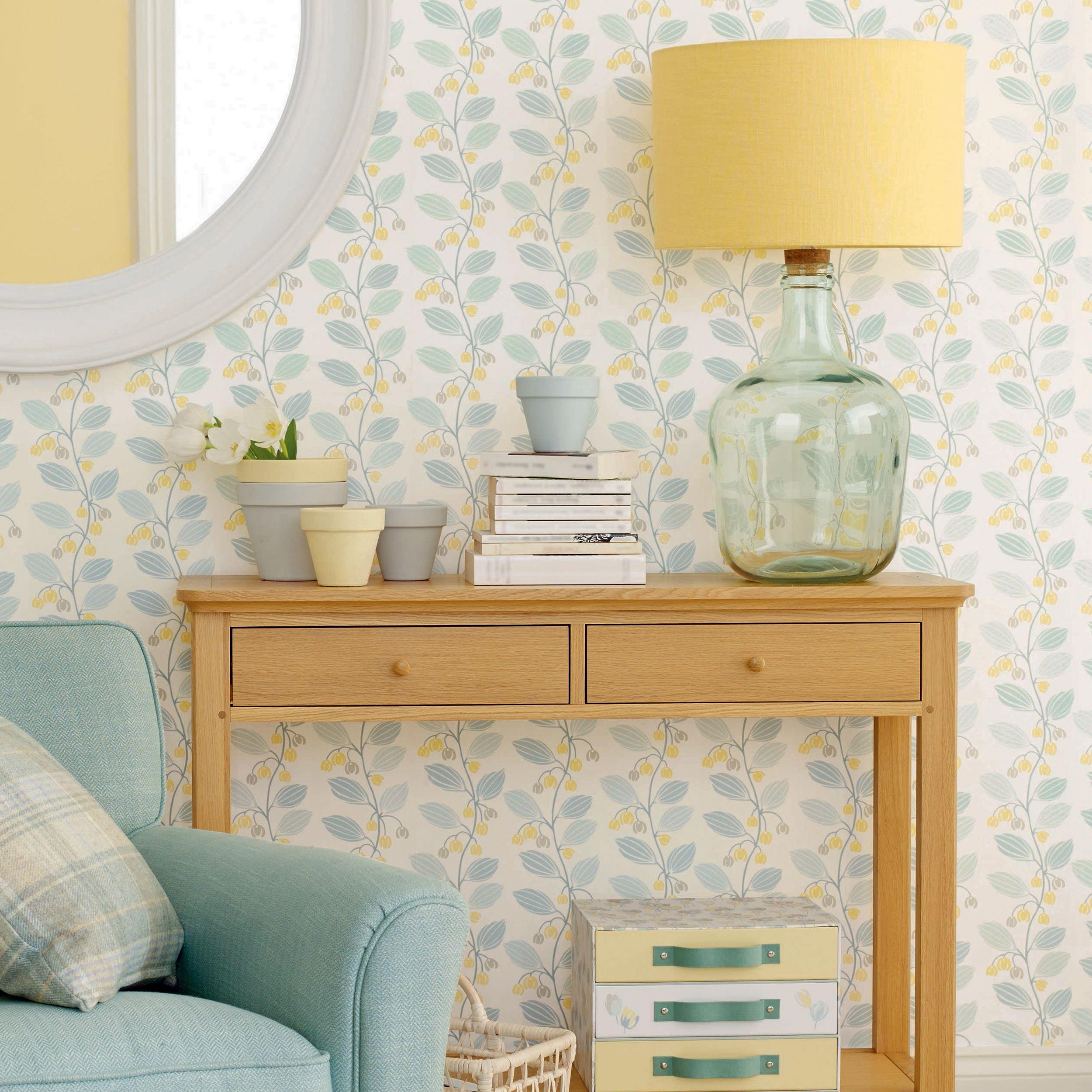 Spring Trail Duck Egg Blue Floral Wallpaper Shopping List - Duck egg blue bedroom wallpaper