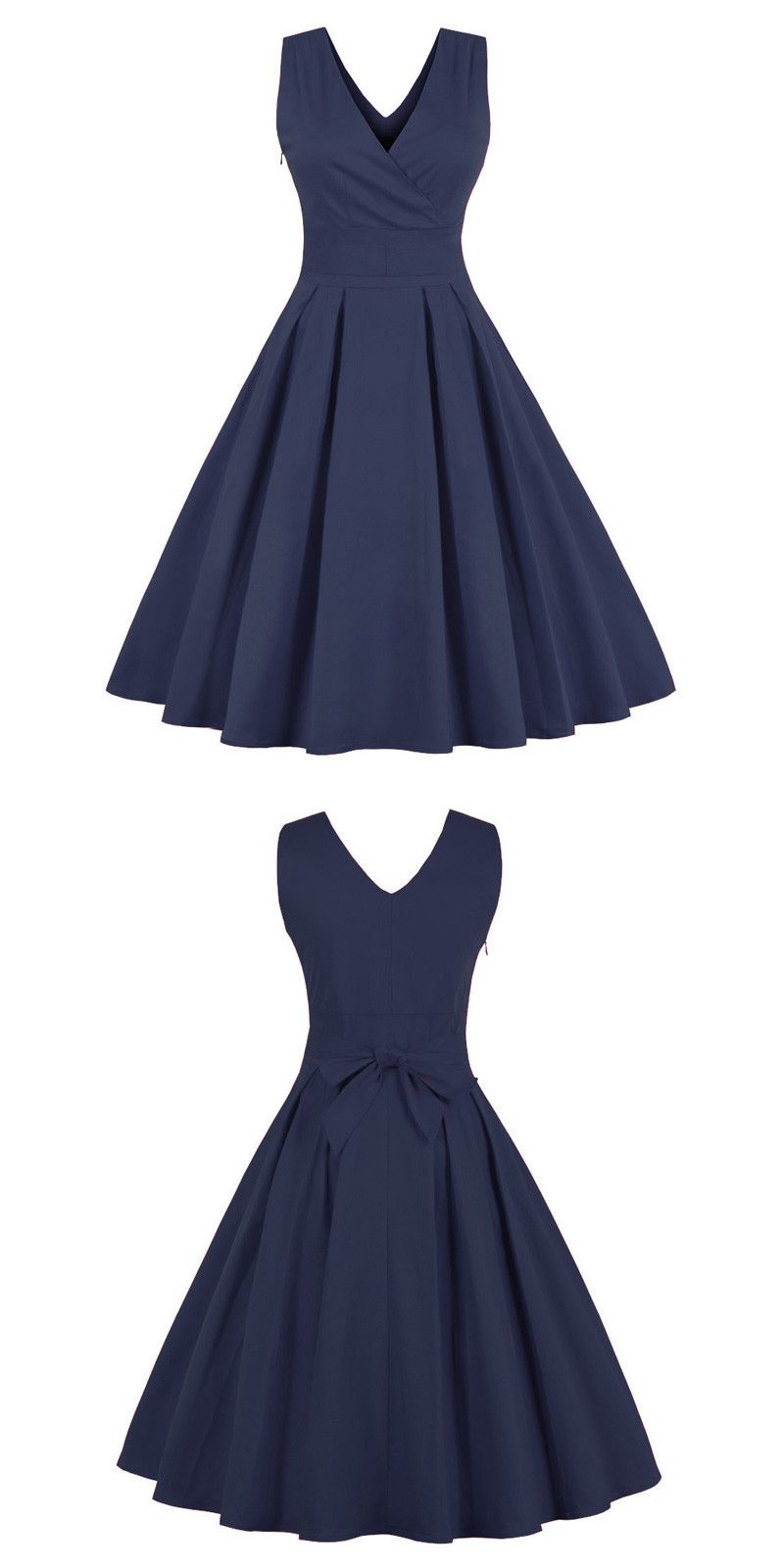 Red s vintage vneck pure color swing party dress navy blue