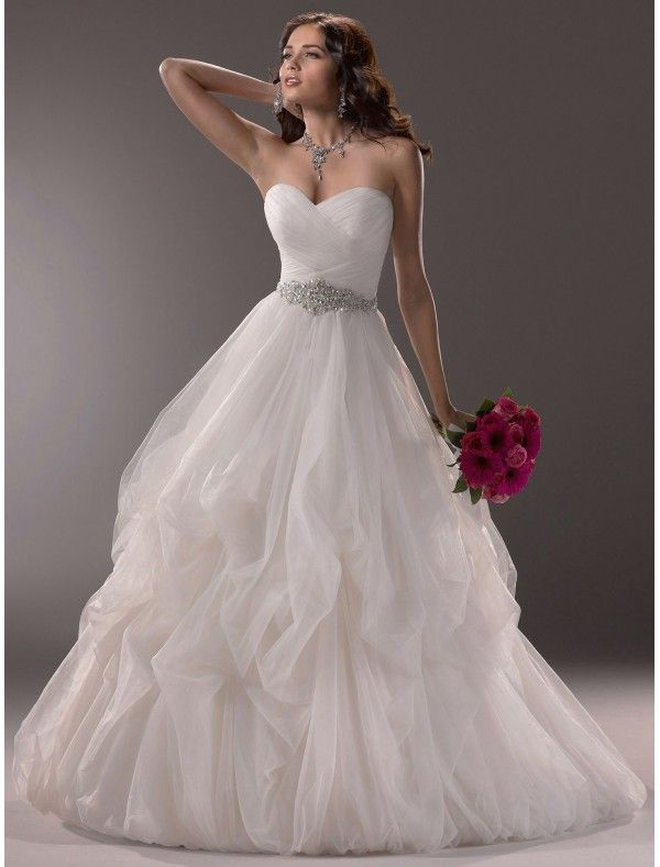 Tulle Sweetheart Neckline Ball Gown Wedding Dress with Beading Waist ...