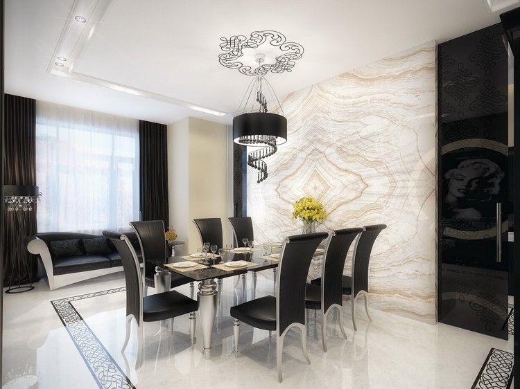 meuble salle à manger moderne de design art déco, table en verre et