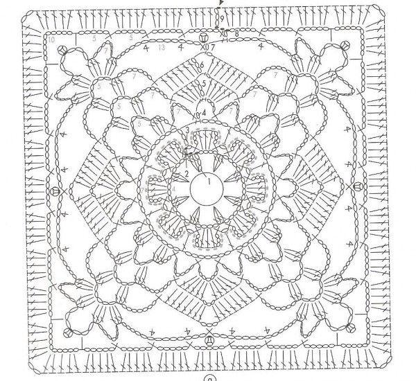 Crochet motif | Crochet Graphs | Pinterest | Cuadrados, Ganchillo y ...