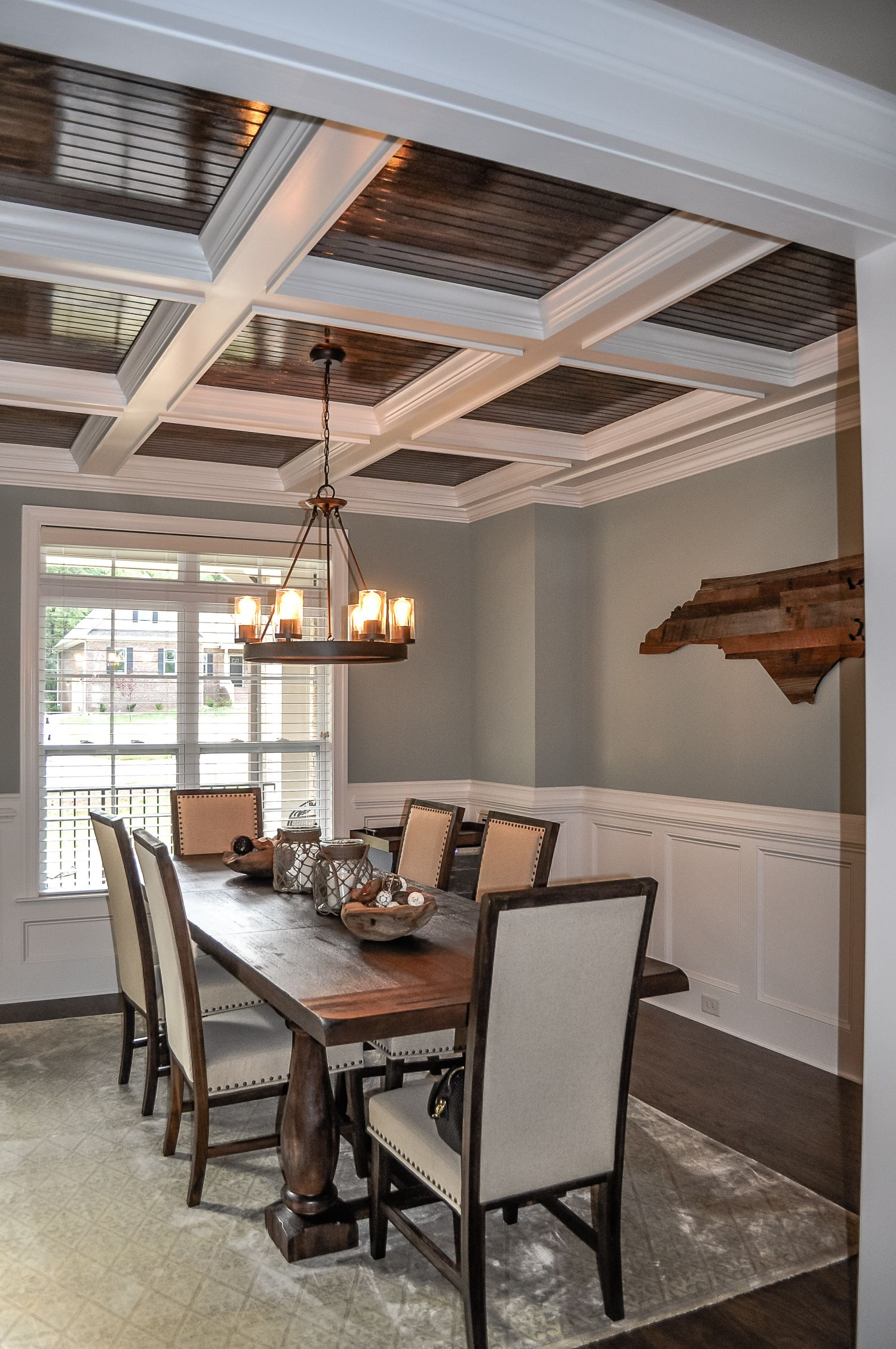 We stained the beadboard ceiling inside the coffer. Jarman Homes ...