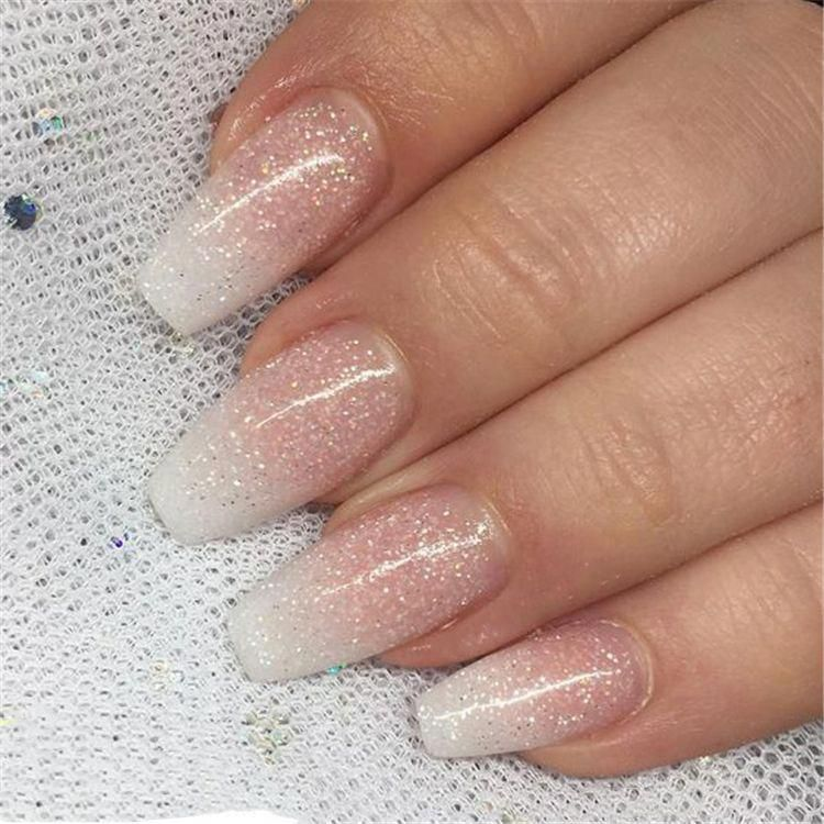 French Ombre Nails With Gold Glitter Baby Boomer Coffin Nails Ombre Nails Acrylic Nails Ombre Nails Glitter Ombre Acrylic Nails Acrylic Nails Coffin Ombre