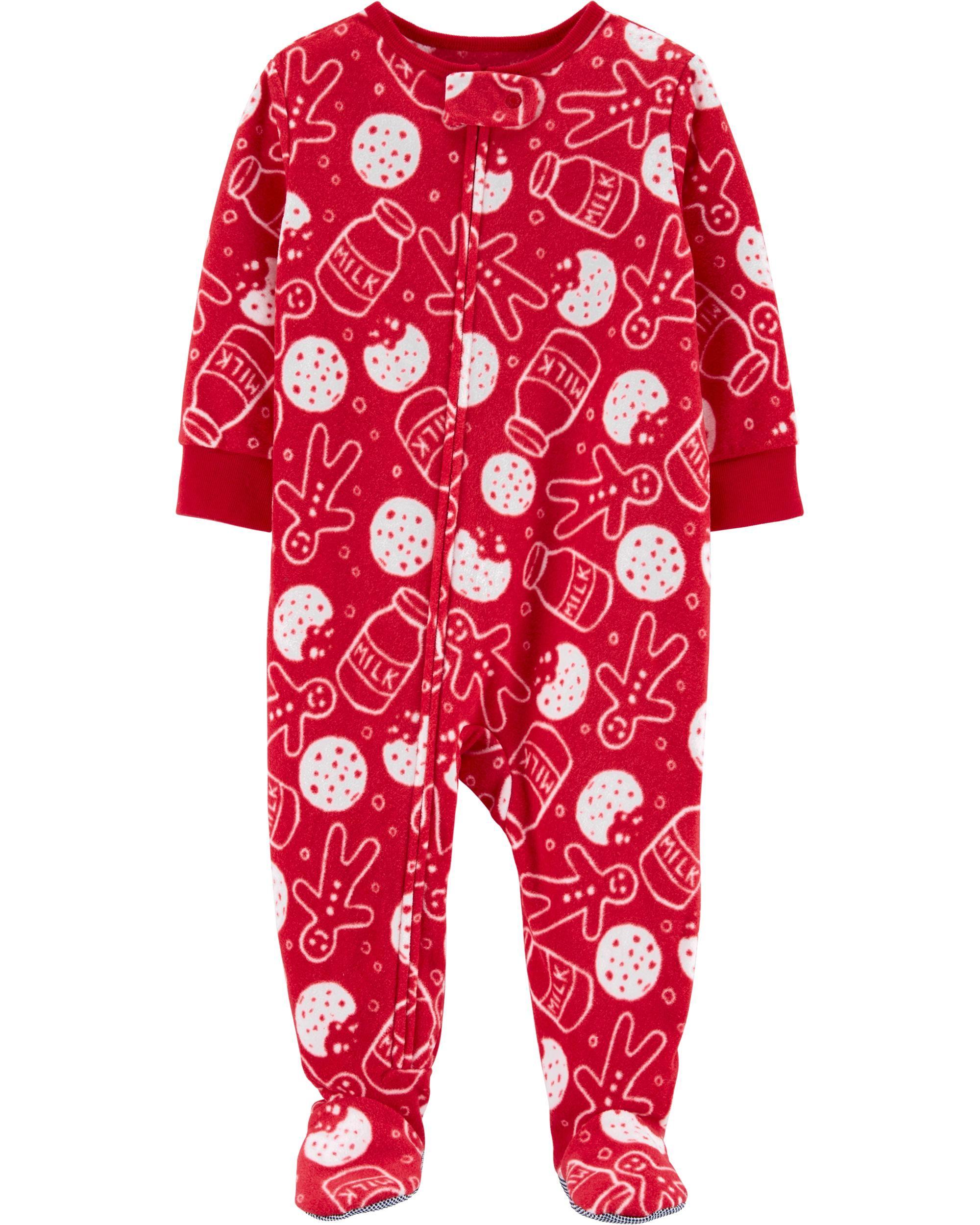 Mud Pie Very Merry Christmas Print Unisex Footed Pajamas Red Trim Holiday PJs