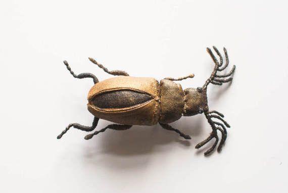 gold-black beetle brooch textil art insect Soft von mysouldesign