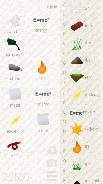 Wind E Mc 2 Hurricane Stone Fire Metal E Mc 2 Electricity Metal Wire Wind Energy Little Alchemy Fired Earth