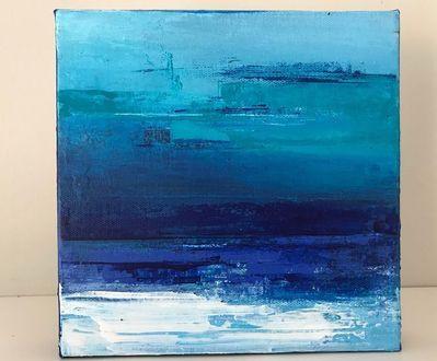 Mini seascape.  Acrylic on canvas.  Abstract seascape by Sarah carlton Art on Etsy.  #etsyart #abstractart #abstractseascape #bluelovers