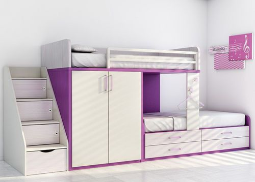 Child's bunk bed with storage cabinets (girls) KIDS UP: 10 ROS 1