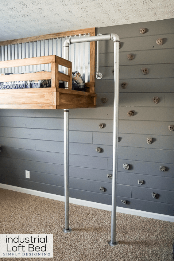 Industrial Loft Bed With Rock Wall And Fireman S Pole Industrial