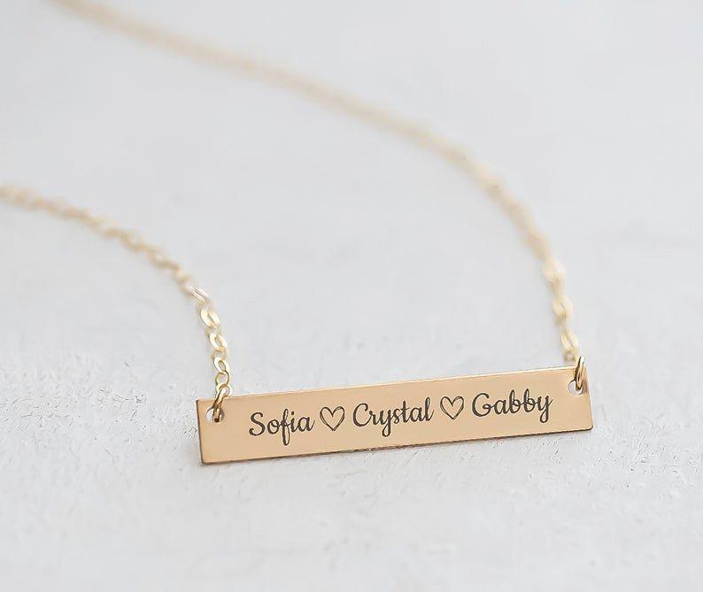 14k Gold Bar Necklace Necklace For Mom Kids Name Necklace Etsy In 2020 Bar Necklace Personalized Engraved Bar Necklace 14k Gold Bar Necklace