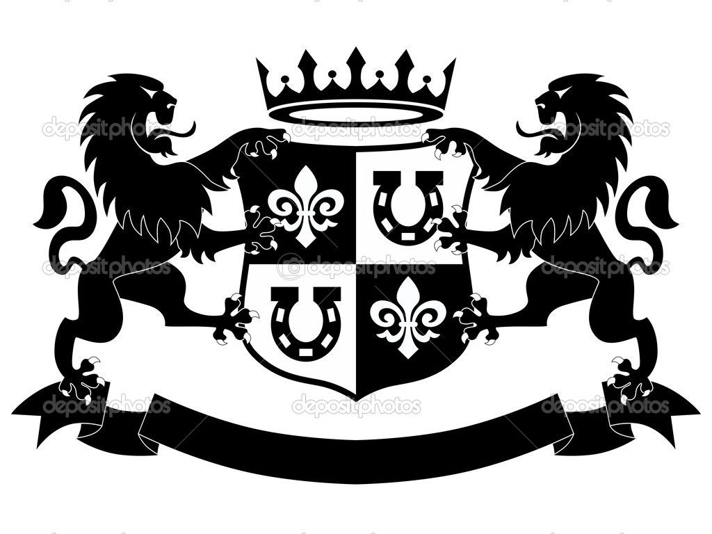 lion symbol | Lions Shield and Crown Insignia — Stock ...