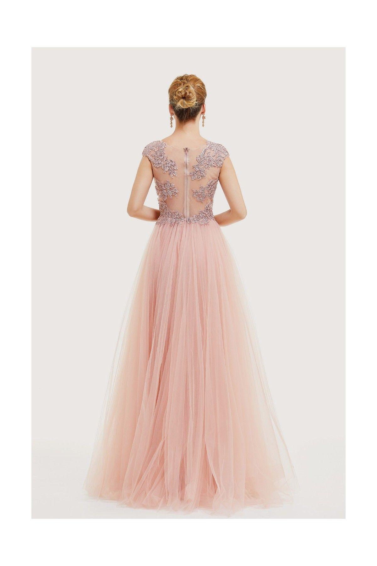 Robe Longue Rose Poudre Vieux Rose Bustier En Dentelle Et Strass