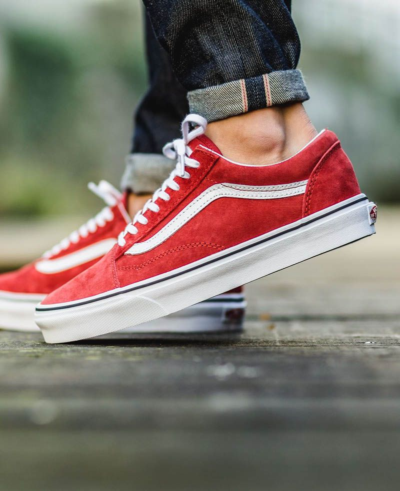 Original Shop Vans Old Skool Premium Leather Racing Red for Men