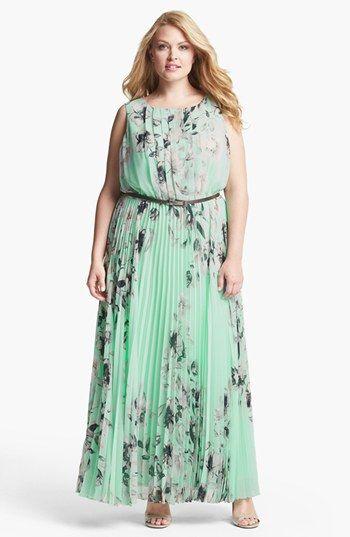 Eliza J Floral Sleeveless Print Chiffon Maxi Dress (Plus ...