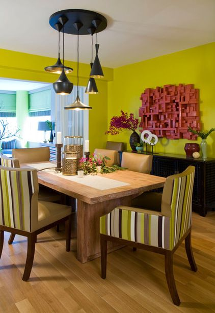 Acid Green Is A Dramatic Dining Room Color Choice Here I Like How The Upholstery On Chair Backs Picks Up Vibrant Hue But Then Its All Grounded