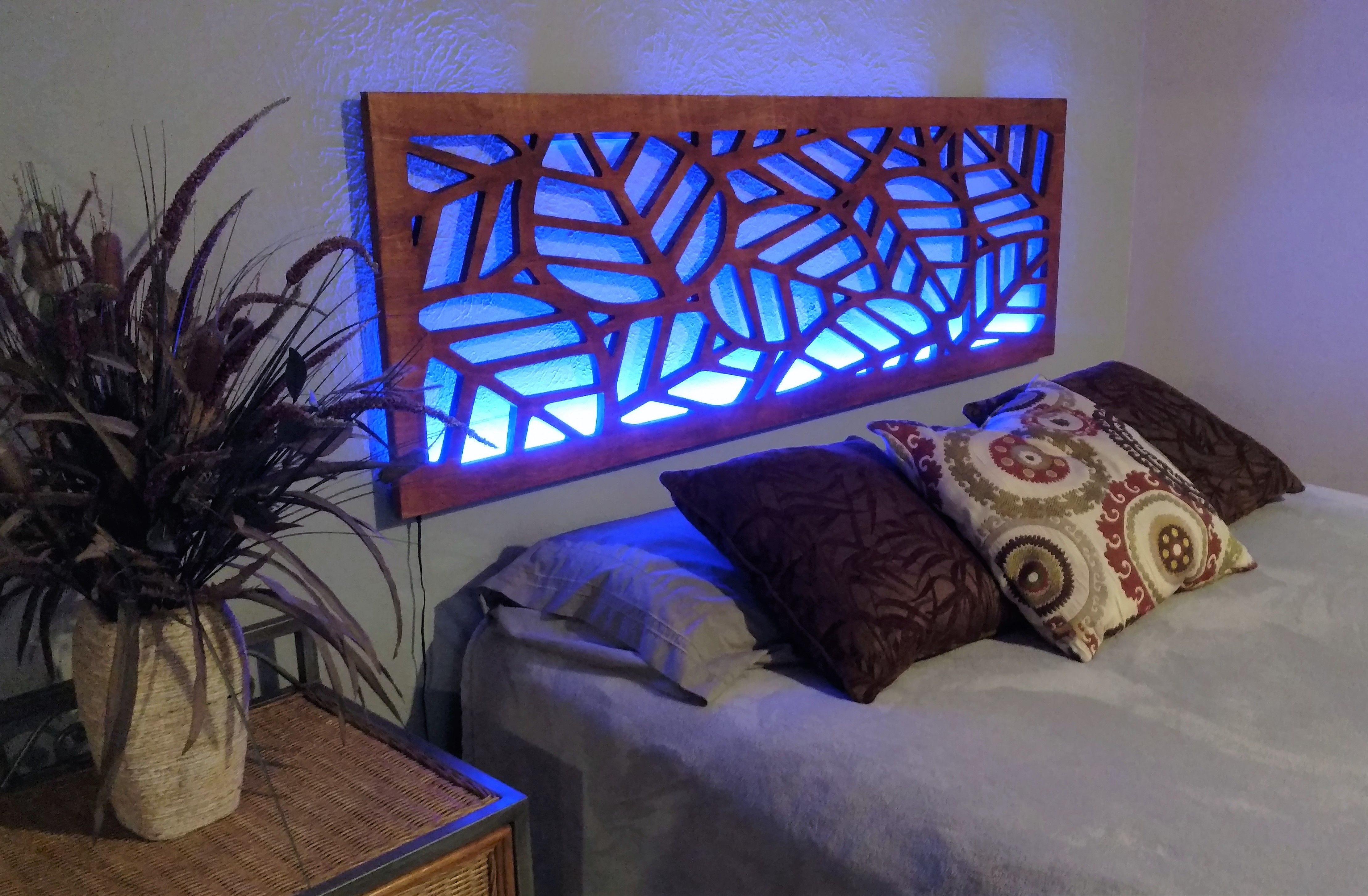 Wood Headboard Led Backlit Wall Mounted Easy To Install