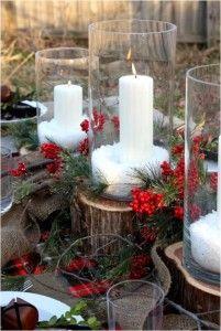 Las clásicas velas, candelabros y bolas de Navidad son también buenas  opciones y, dependiendo de cómo las usemos, pueden darnos resultados increíbles.  Más info en nuestro blog... ¡Pincha sobre la foto! Foto vía sweetsomethingdesign.blogspot.com.es