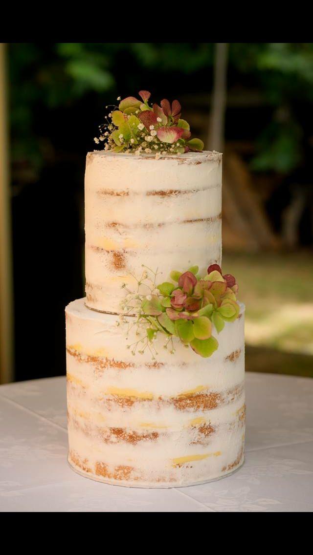 Two tiered semi-naked white cake | Heather & Jamie\'s Wedding Cake ...