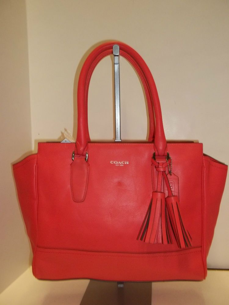 COACH 24201 Bright Coral Leather Legacy Candace Medium Carryall ...