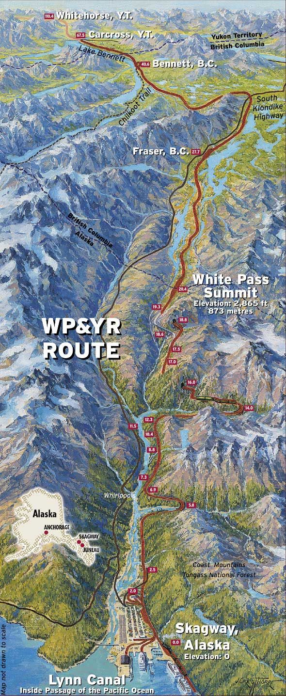 Map of the White Pass and Yukon Railroad Route from Skagway, Alaska over the White Pass Summit and on to Whitehorse Yukon Territory.