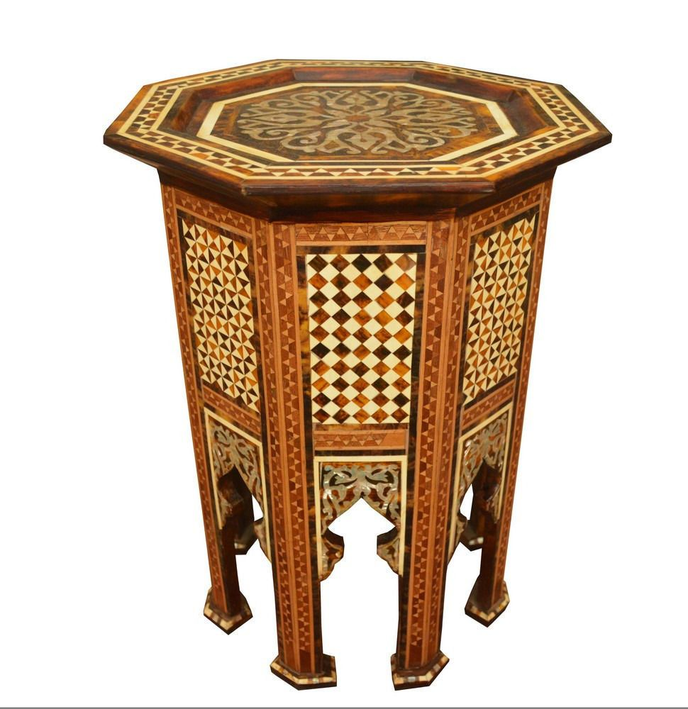 Moroccan Arabian Mother Of Pearl Wood Coffee Side Table Moroccan Decor Living Room Moroccan Table How To Antique Wood