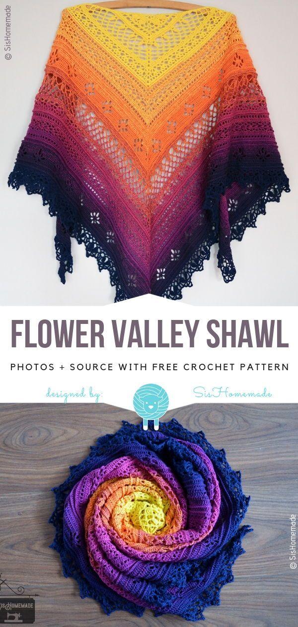 Flower Valley Shawl Free Crochet Pattern Crocheting - Crochet Shawl