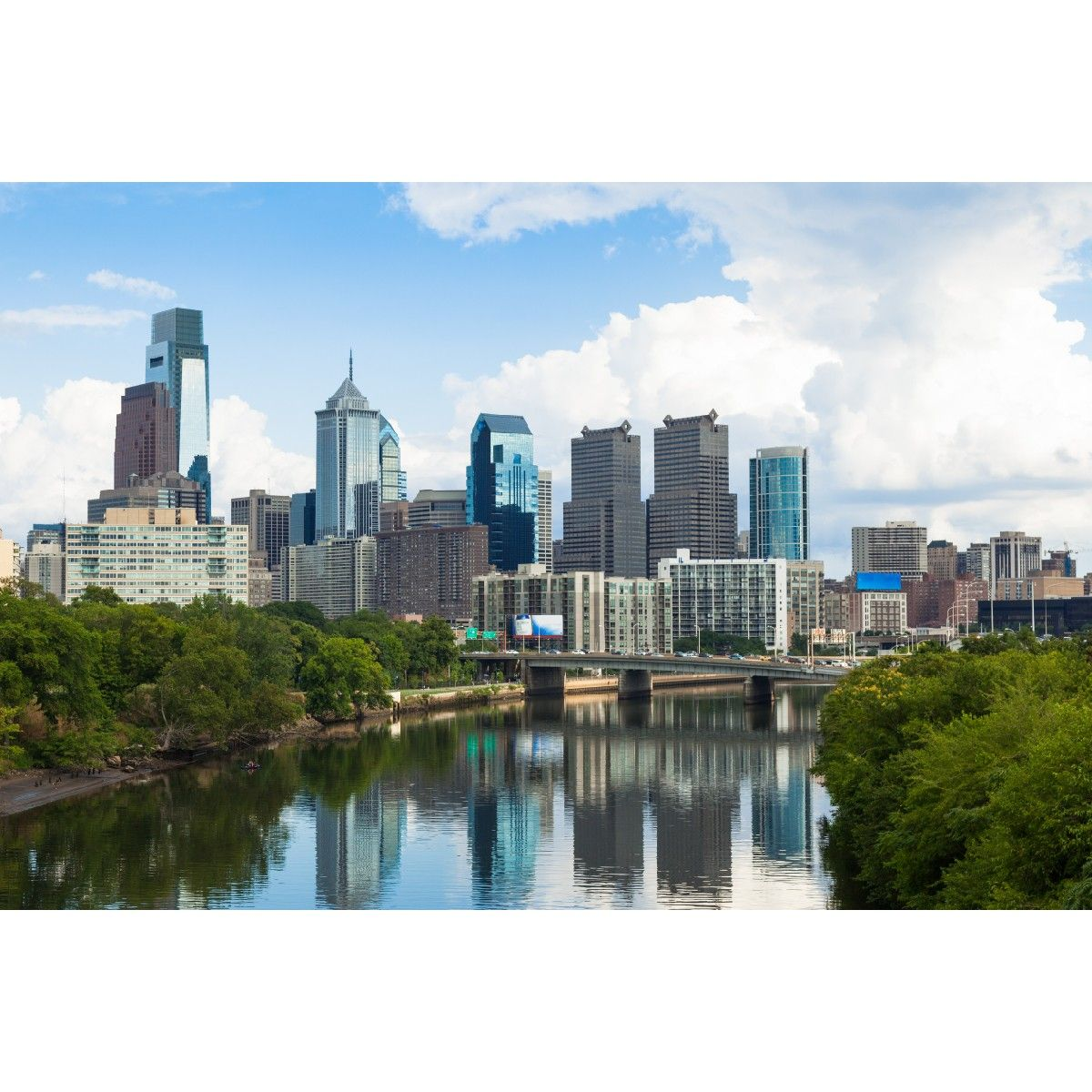 Philadelphia City View Wall Mural Architecture Cityscapes The Philadelphia skyline shimmers against a  sc 1 st  Pinterest & Philadelphia City View Wall Mural: Architecture: Cityscapes: The ...