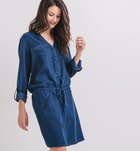 Robe en denim fluide Femme   mode   Pinterest   Coats and Shopping 415664169816