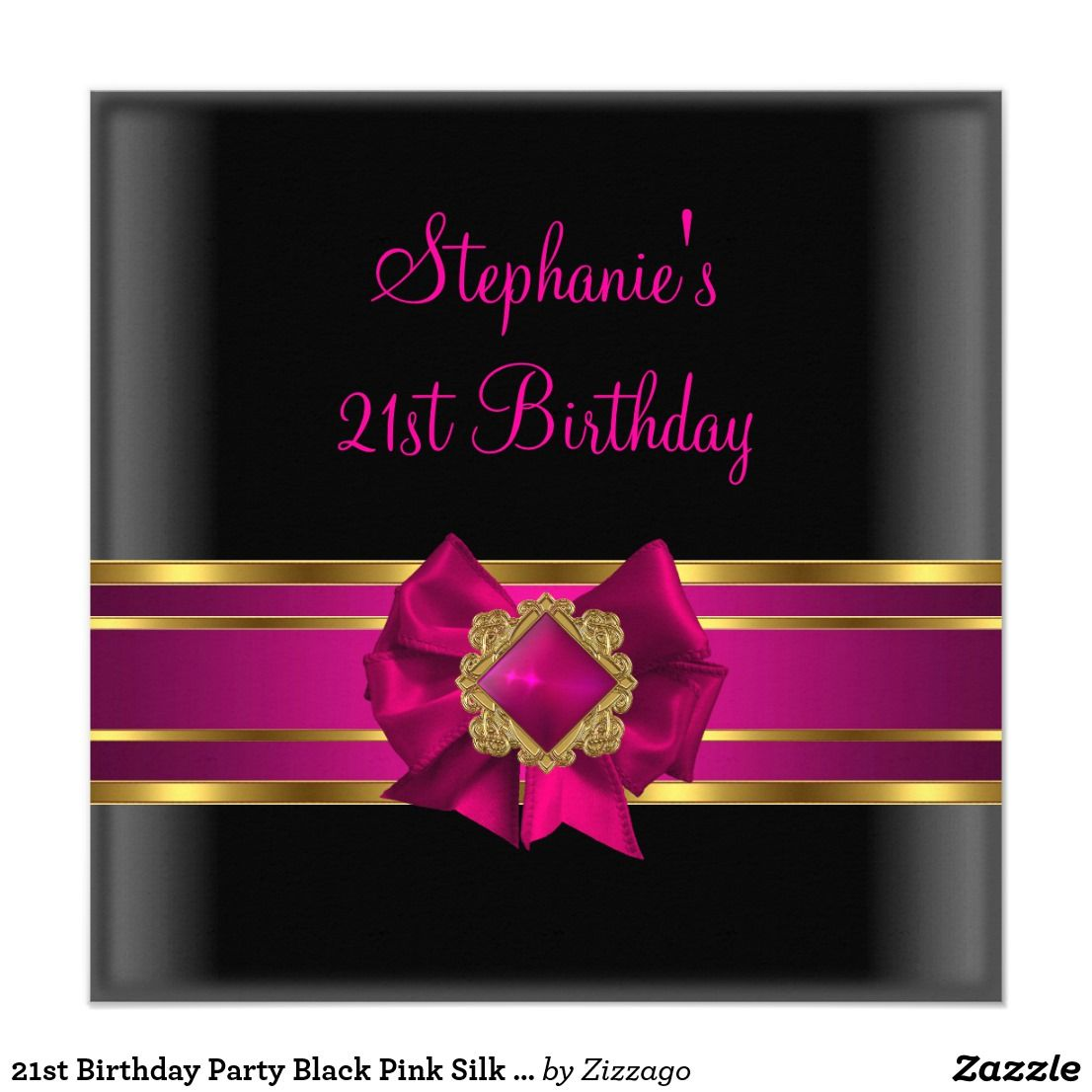 21st Birthday Party Black Pink Silk Gold Jewel Card Dark Celebration Invitation