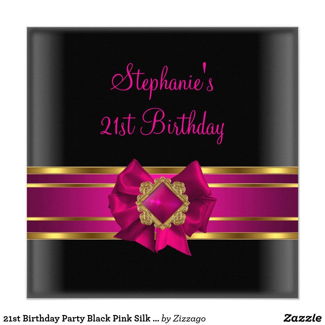 21st Birthday Party Black Pink Silk Gold Jewel Card | 21st birthday ...