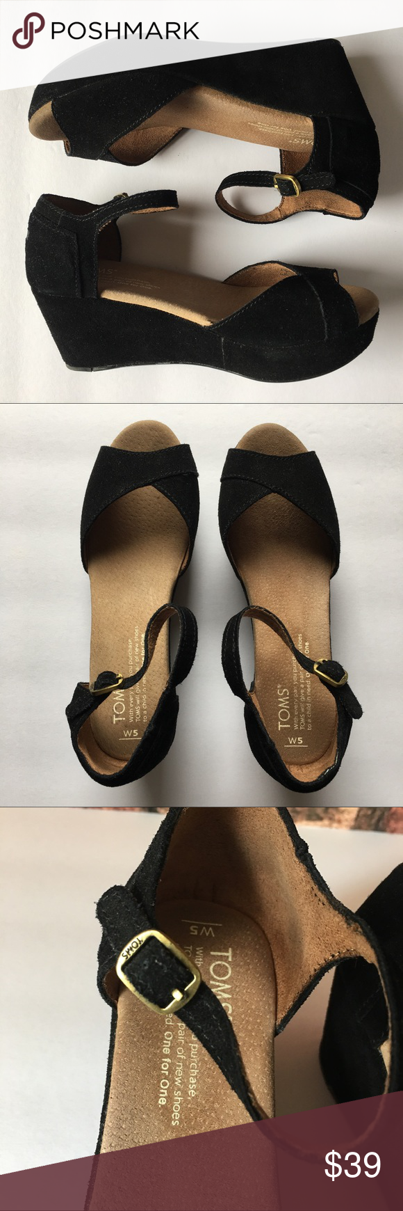 Toms Black Suede Sandal Wedges The perfect black suede wedges to add to your wardrobe. Great for the spring and summer time. In excellent condition. TOMS Shoes Wedges