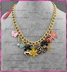 Betsey Johnson Coccinella bow snail sun flowers bow necklace #N134 - #N134, Betsey, Coccinella, Flower's, Johnson, Necklace, snail - http://designerjewelrygalleria.com/betsey-johnson/betsey-johnson-necklaces/betsey-johnson-coccinella-bow-snail-sun-flowers-bow-necklace-n134/