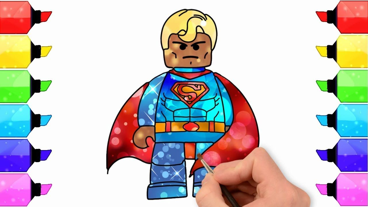 Coloring Lego Superman Painting For Toddlers And Drawing Superheroes L Drawing Superheroes Superman Painting Art Toy