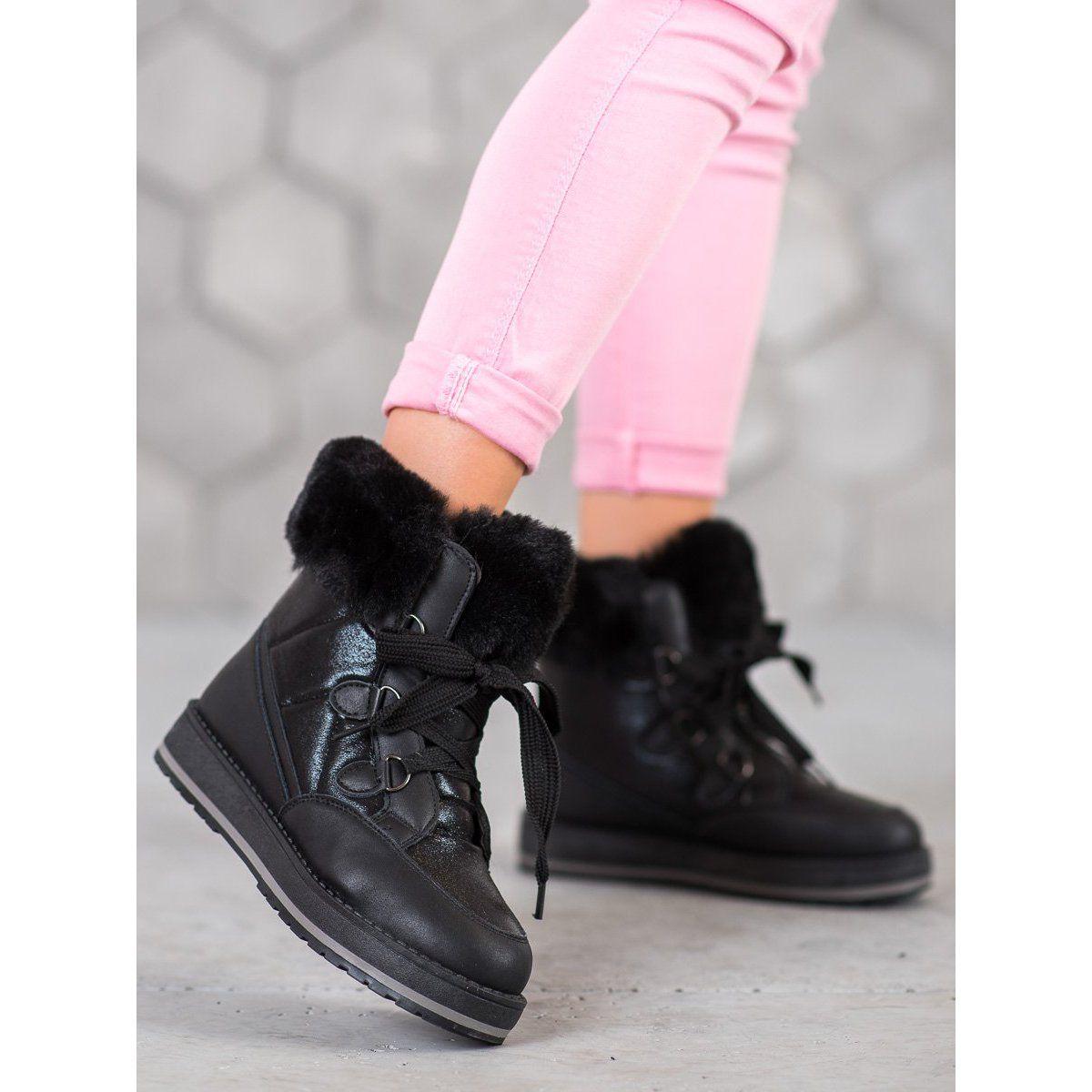 Muto Blyszczace Sniegowce Czarne All Black Sneakers Black Sneaker Boots