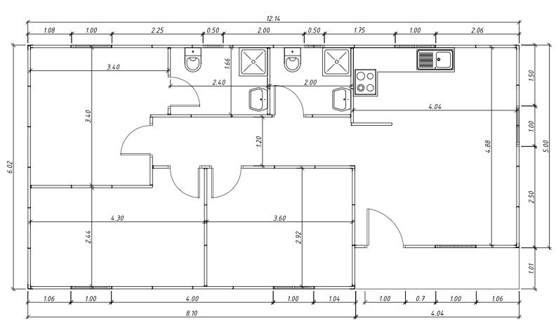 Plano de casa social un piso tres dormitorios mi casa for Planos para mi casa