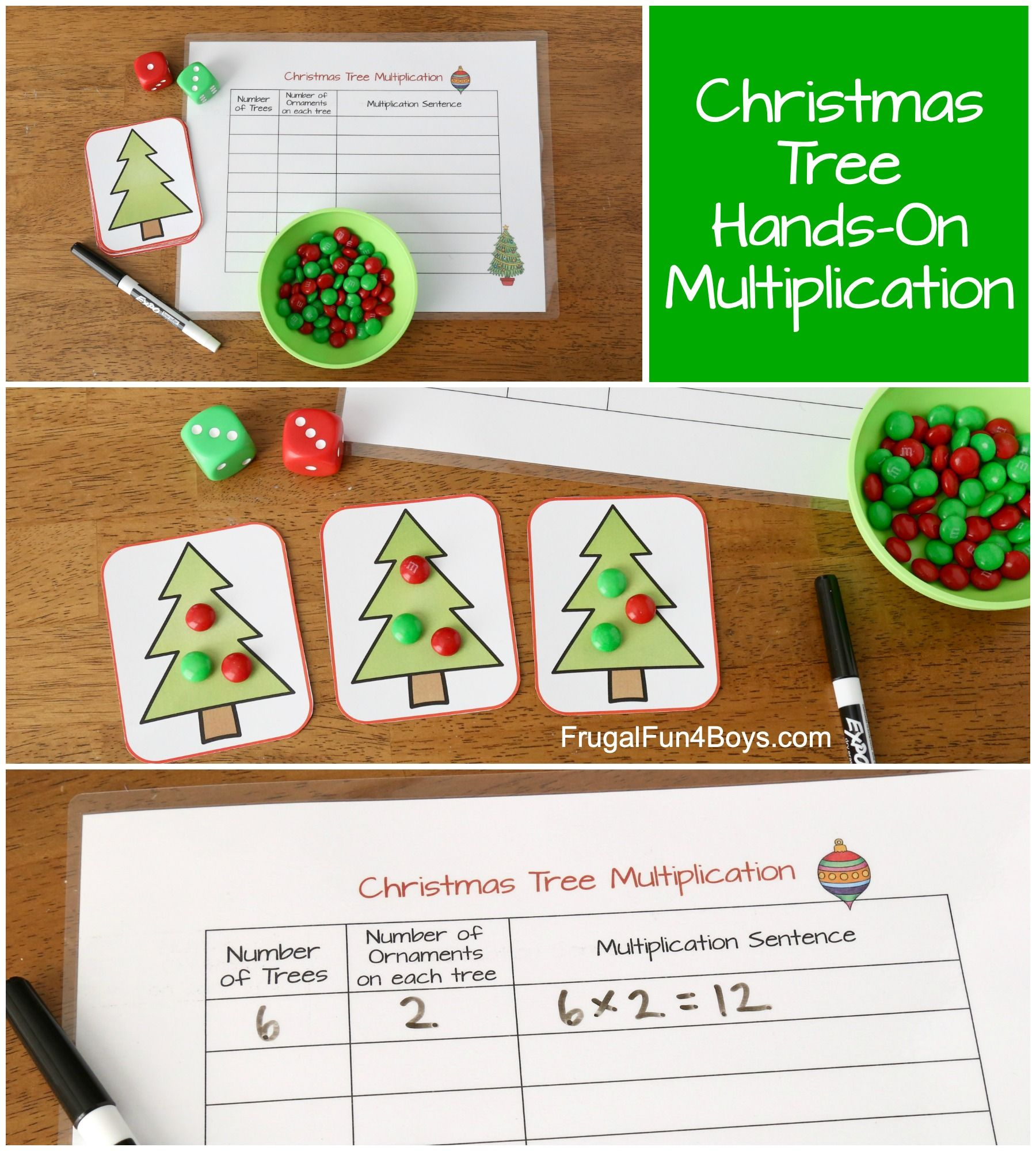 Christmas Tree Hands On Multiplication Activity