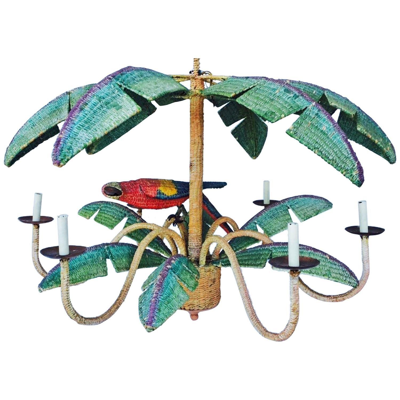 Mario torres wicker parrot chandelier circa 1970 chandeliers mario torres wicker parrot chandelier circa 1970 mexique arubaitofo Images