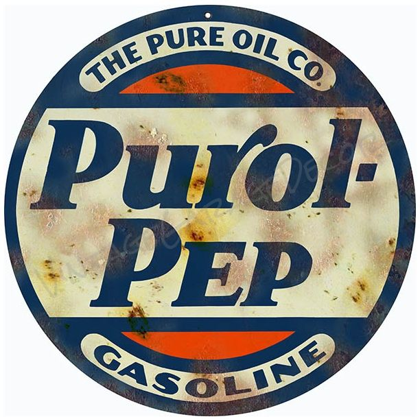 Vintage Style   Purol Pep Gasoline   Advertising Metal Sign (Rusted) is part of Vintage signs - Create a Unique Vintage Garage Look with our Products  This is a reproduction of a vintage   Purol Pep Gasoline   Advertising Metal Sign  Made to look old, this round sign is made of  040 Aluminum  It has an eyelet for easy mounting  Made in the USA