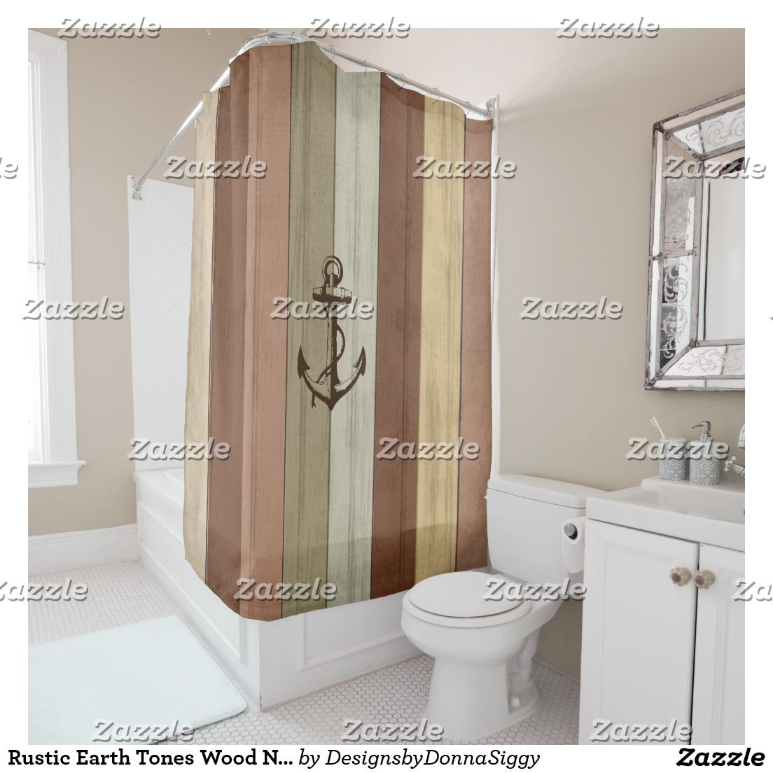 Rustic Earth Tones Wood Nautical Stripes U0026 Anchor Shower Curtain