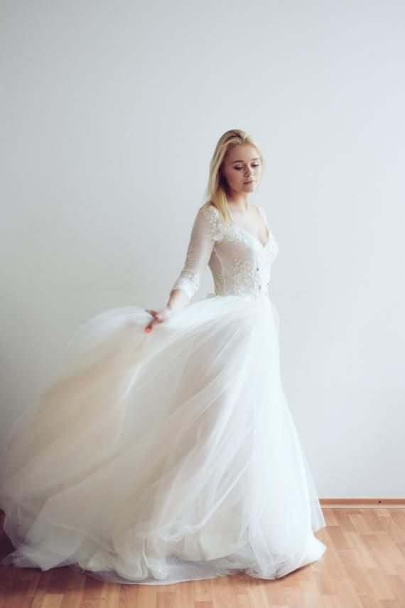 6ad824edc347 Ready to ship / Tulle wedding gown // Aurelie / Ivory wedding dress, long  sleeve dress, winter weddi