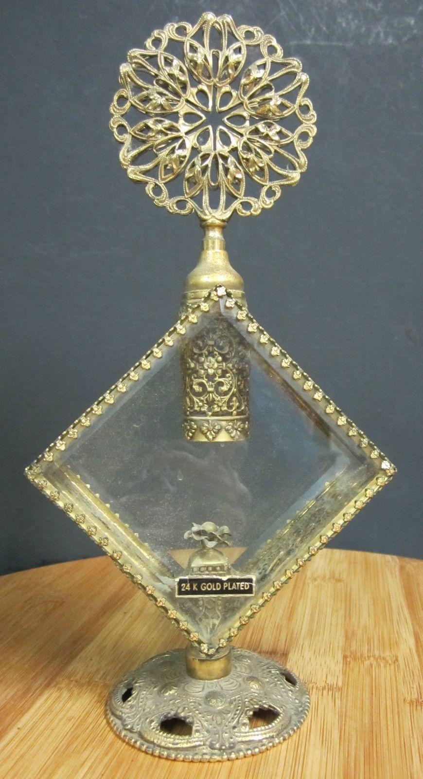 "VTG 10 1 2"" Perfume Bottle Gold Ormolu Filigree Beveled Glass Crystal Dauber | eBay"