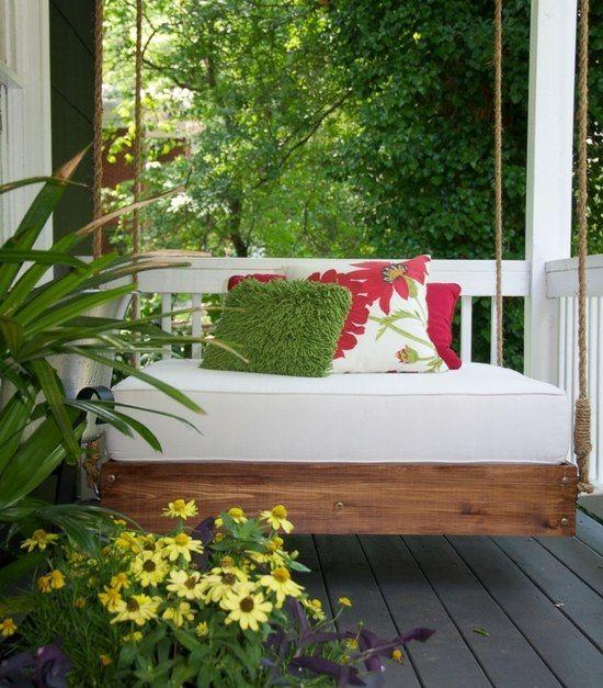 Holz Terrasse Haus Eingang Schaukel Bett