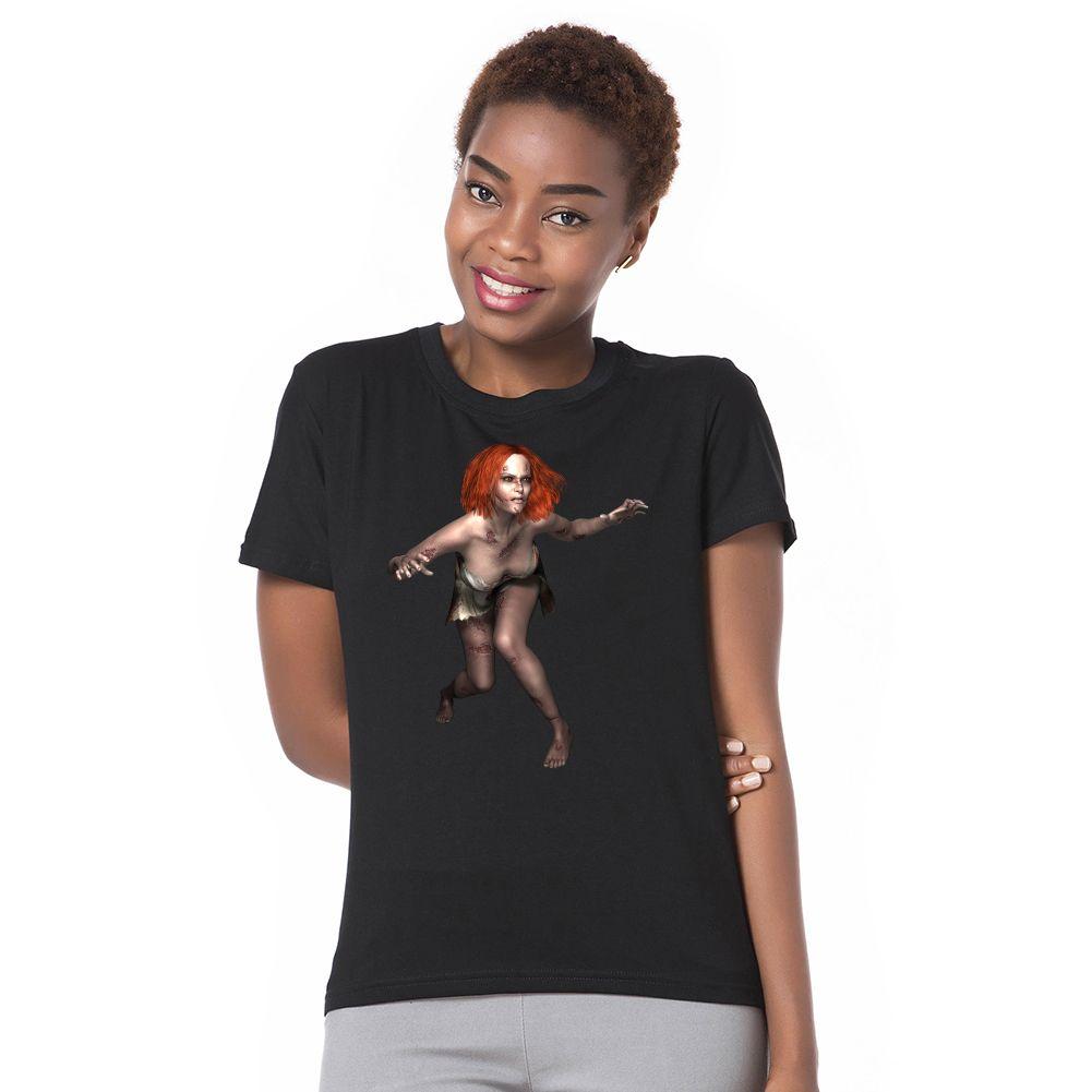 Womenus summer short sleeve oneck zombie girl top tee cotton t