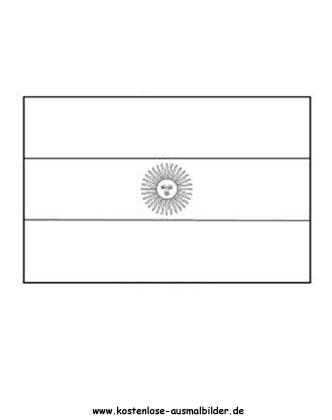 Ausmalbild Fahne - Flagge Argentinien Fahnen Ausmalbild
