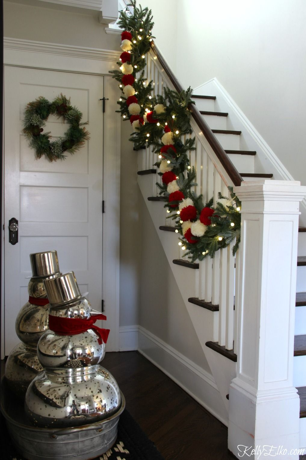 Marvelous Christmas Home Tour   Love This Foyer With Beautiful Garland And Mercury  Glass Snowmen From HomeGoods Home Design Ideas