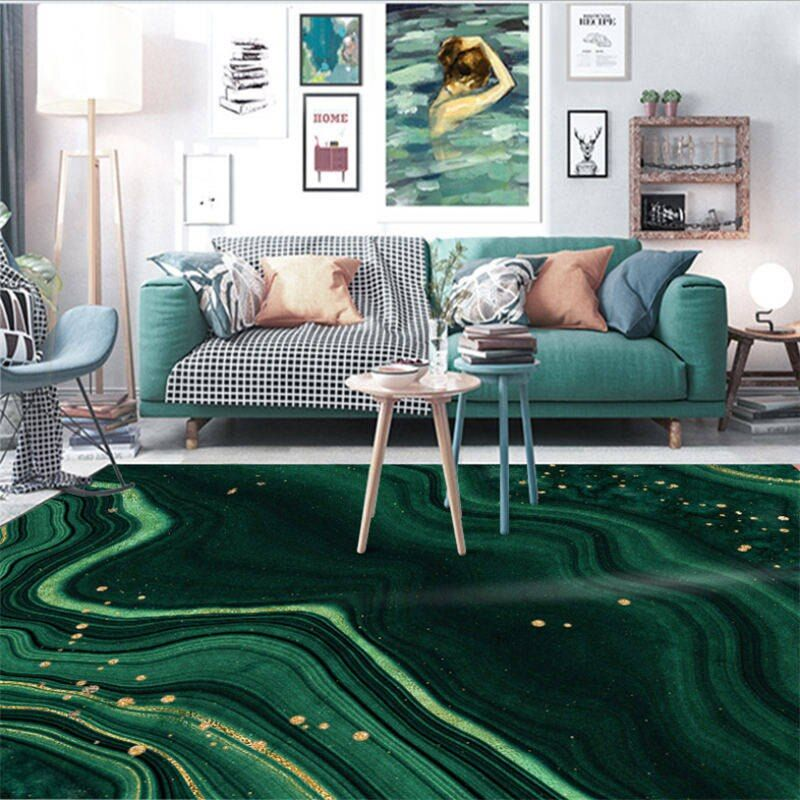 Online Shop Aovoll Area Rug For Bedroom European Dark Green Gold Geometric Carpet Carpets For Livi Living Room Carpet Green Sofa Living Green Living Room Decor
