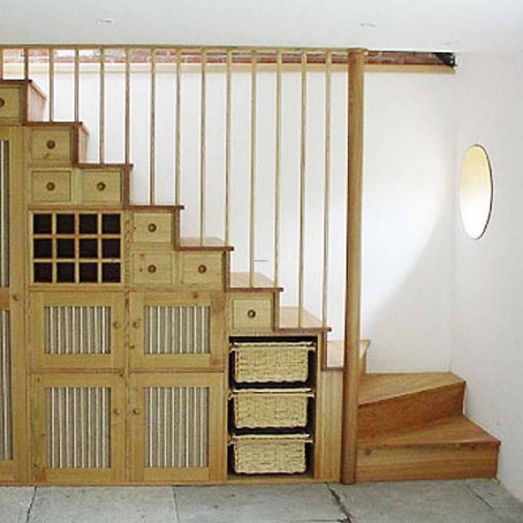 Antique Under Stairs Design With Creative Storages Box Feat Rail ...